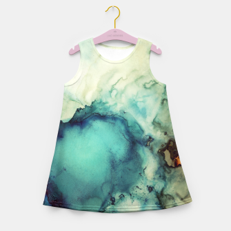 Thumbnail image of Teal Abstract Girl's summer dress, Live Heroes