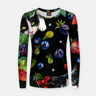 Thumbnail image of Cats and berries Woman cotton sweater, Live Heroes