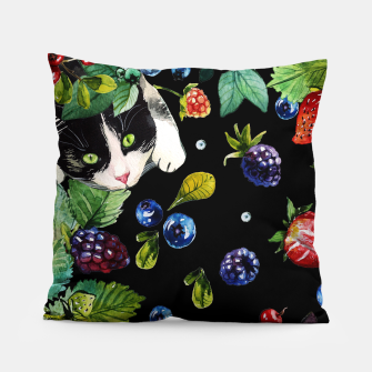 Thumbnail image of Cats and berries Pillow, Live Heroes