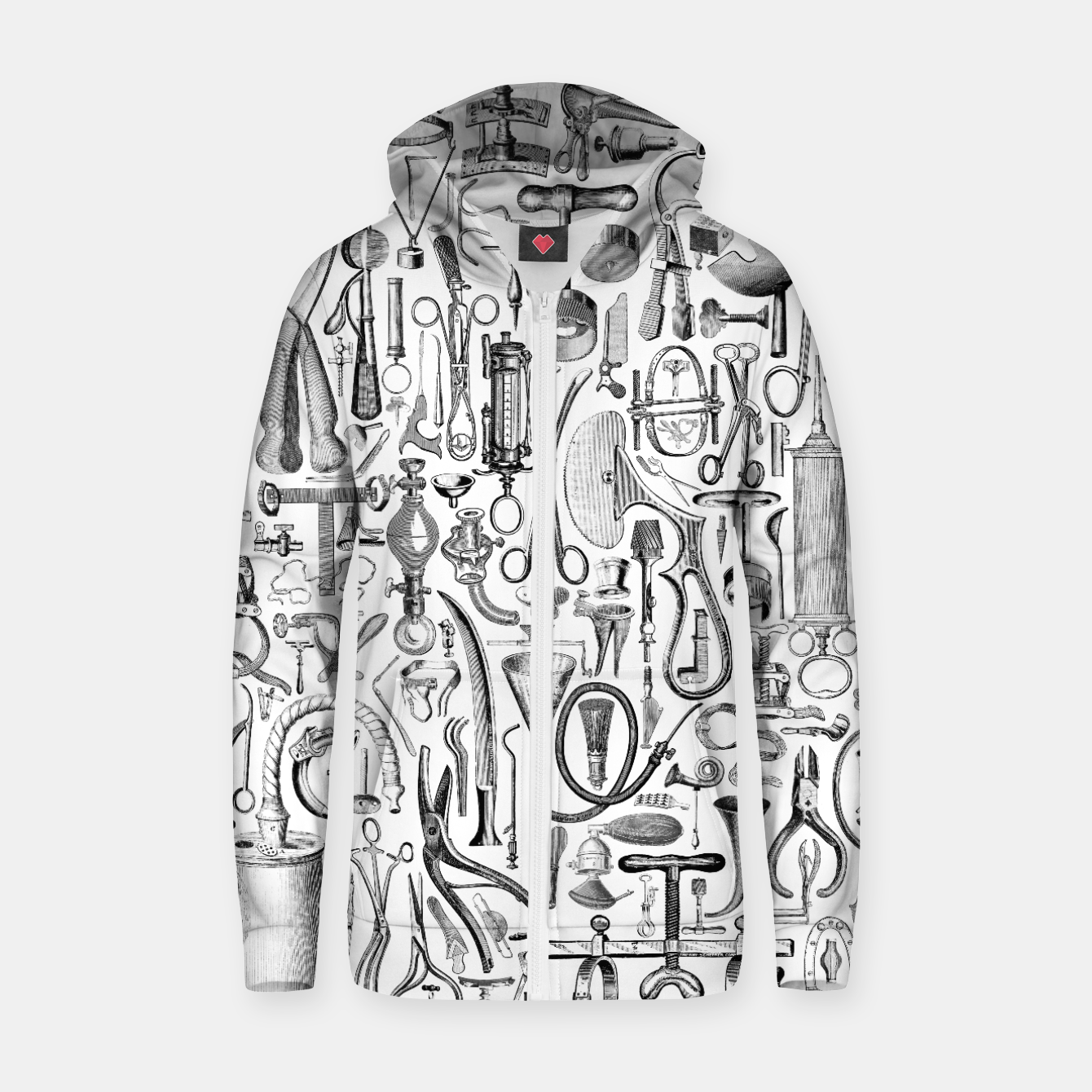 Image of Medical Condition B&W Cotton zip up hoodie - Live Heroes