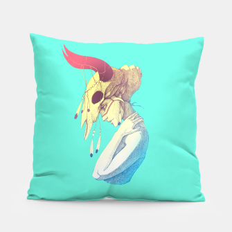 Thumbnail image of Woman & Skull Color version Pillow, Live Heroes