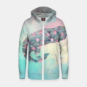Miniatur Flower Whale Cotton zip up hoodie, Live Heroes