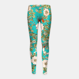 Miniaturka Teal Botanical Girl's leggings, Live Heroes