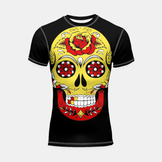 Thumbnail image of Skull Golden Bloodred Victorian  Shortsleeve rashguard, Live Heroes