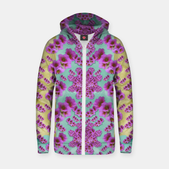 Miniature de image de climbing and loving beautiful flowers of fantasy florals Cotton zip up hoodie, Live Heroes