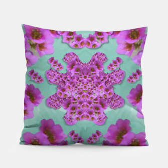 Miniaturka climbing and loving beautiful flowers of fantasy florals Pillow, Live Heroes