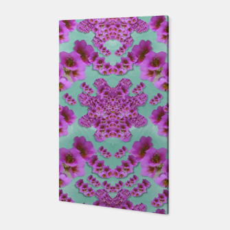 Miniatur climbing and loving beautiful flowers of fantasy florals Canvas, Live Heroes