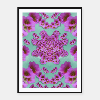 Miniatur climbing and loving beautiful flowers of fantasy florals Framed poster, Live Heroes