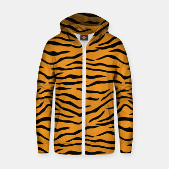 Thumbnail image of Orange and Black Tiger Stripes Cotton zip up hoodie, Live Heroes
