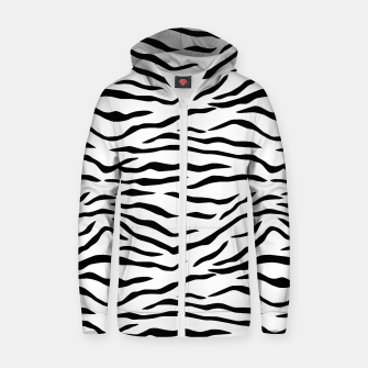 Miniatur Black and White Tiger Stripes Cotton zip up hoodie, Live Heroes