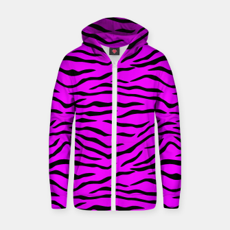 Miniatur Hot Pink Neon and Black Tiger Stripes Cotton zip up hoodie, Live Heroes