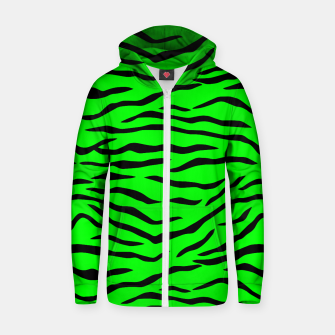 Miniature de image de Bright Neon Green and Black Tiger Stripes  Cotton zip up hoodie, Live Heroes