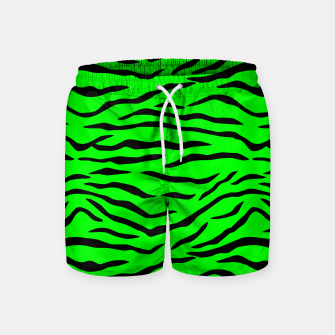 Thumbnail image of Bright Neon Green and Black Tiger Stripes  Swim Shorts, Live Heroes