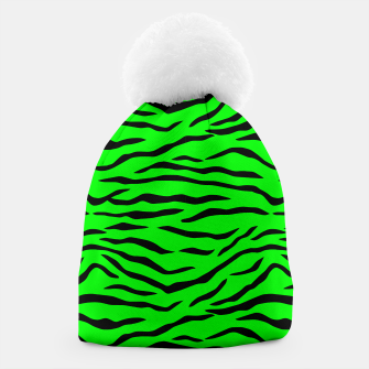 Thumbnail image of Bright Neon Green and Black Tiger Stripes  Beanie, Live Heroes