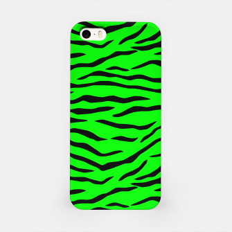 Imagen en miniatura de Bright Neon Green and Black Tiger Stripes  iPhone Case, Live Heroes