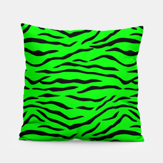 Thumbnail image of Bright Neon Green and Black Tiger Stripes  Pillow, Live Heroes