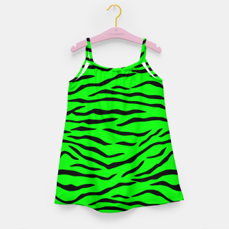 Thumbnail image of Bright Neon Green and Black Tiger Stripes  Girl's dress, Live Heroes
