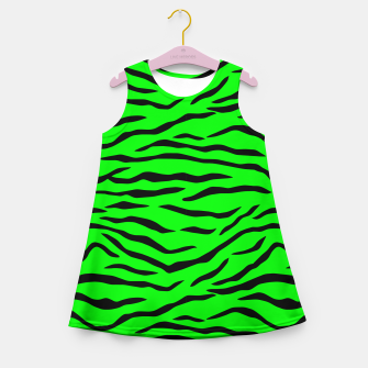 Thumbnail image of Bright Neon Green and Black Tiger Stripes  Girl's summer dress, Live Heroes