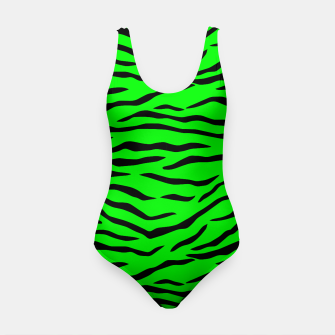 Thumbnail image of Bright Neon Green and Black Tiger Stripes  Swimsuit, Live Heroes