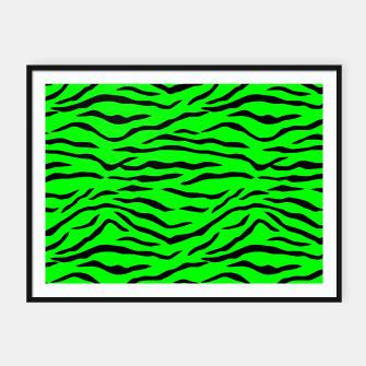 Thumbnail image of Bright Neon Green and Black Tiger Stripes  Framed poster, Live Heroes