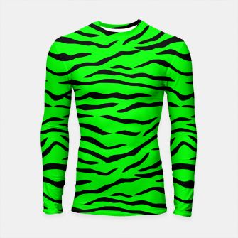 Thumbnail image of Bright Neon Green and Black Tiger Stripes  Longsleeve rashguard , Live Heroes