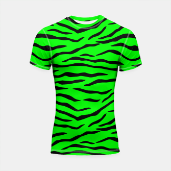 Thumbnail image of Bright Neon Green and Black Tiger Stripes  Shortsleeve rashguard, Live Heroes