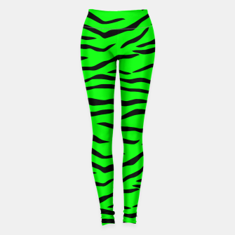 Thumbnail image of Bright Neon Green and Black Tiger Stripes  Leggings, Live Heroes