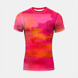 "Imagen en miniatura de ""Abstract brushstrokes in pastel pinks and oranges decorative pattern"" Shortsleeve rashguard, Live Heroes"