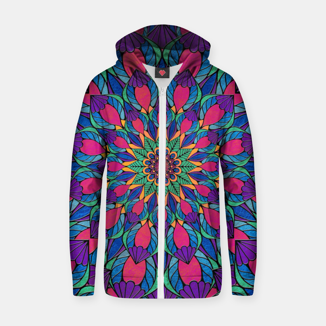 Imagen de Peacock Feather Mandala Cotton zip up hoodie - Live Heroes