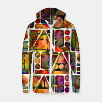Painted Geometric Pattern Cotton zip up hoodie imagen en miniatura