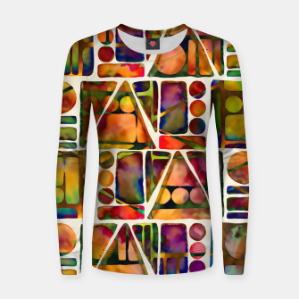 Painted Geometric Pattern Woman cotton sweater imagen en miniatura
