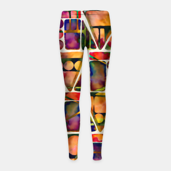 Painted Geometric Pattern Girl's leggings imagen en miniatura