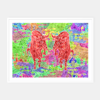 Thumbnail image of dancing bulls Framed poster, Live Heroes