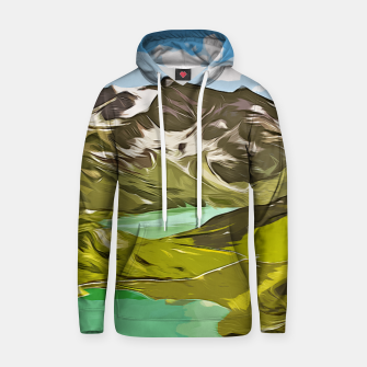 Thumbnail image of gxp alpin aussicht berge mountain view vector art Baumwoll Kapuzenpullover, Live Heroes