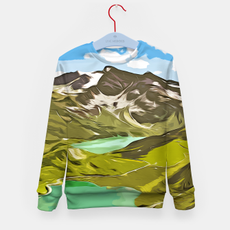Thumbnail image of gxp alpin aussicht berge mountain view vector art Kindersweatshirt, Live Heroes