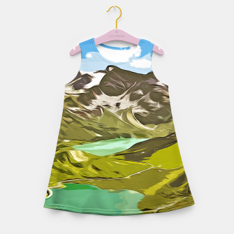 Thumbnail image of gxp alpin aussicht berge mountain view vector art Mädchen-Sommerkleid, Live Heroes