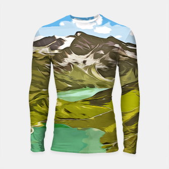 Thumbnail image of gxp alpin aussicht berge mountain view vector art Longsleeve rashguard, Live Heroes
