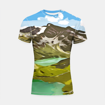 Thumbnail image of gxp alpin aussicht berge mountain view vector art Shortsleeve rashguard, Live Heroes