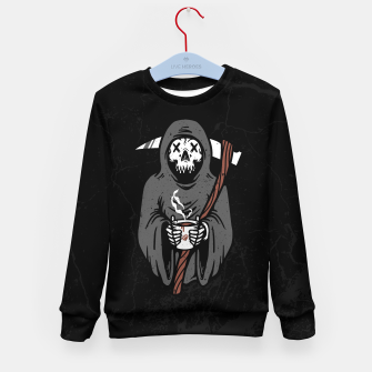 Thumbnail image of Coffee Reaper Kid's sweater, Live Heroes