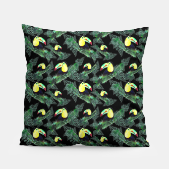 Thumbnail image of Toucans and Tropical Leaves Pattern Pillow, Live Heroes