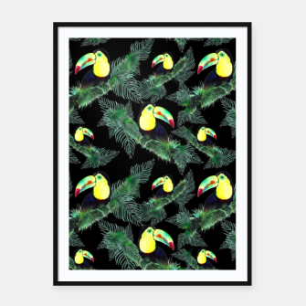 Thumbnail image of Toucans and Tropical Leaves Pattern Framed poster, Live Heroes