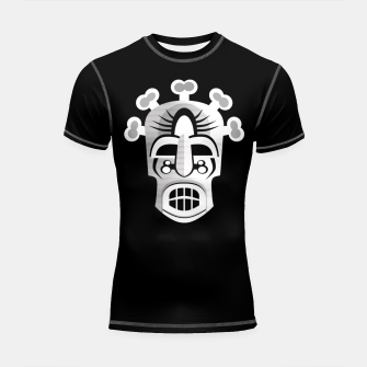 Thumbnail image of Tribal Ancient Skull Mask Shortsleeve rashguard, Live Heroes
