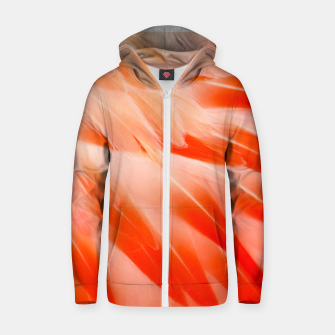 Thumbnail image of Pink Flamingo Feathers Cotton zip up hoodie, Live Heroes