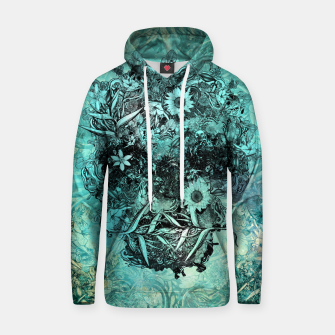 Thumbnail image of Floral Skull Blue Cotton hoodie, Live Heroes