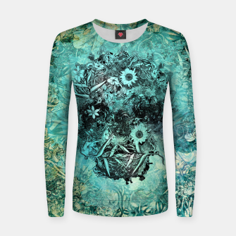 Miniaturka Floral Skull Blue Woman cotton sweater, Live Heroes