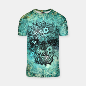 Miniatur Floral Skull Blue T-shirt, Live Heroes