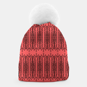Miniatur Stylish beanie red, black Folk Ornaments Linearts, Live Heroes