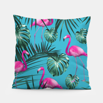 Miniatur Tropical Flamingo Pattern #4 #tropical #decor #art Kissen, Live Heroes