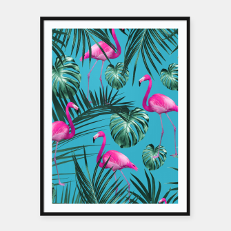 Tropical Flamingo Pattern #4 #tropical #decor #art Plakat mit rahmen thumbnail image