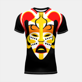 Thumbnail image of Ancient Tribal Native Mask Shortsleeve rashguard, Live Heroes